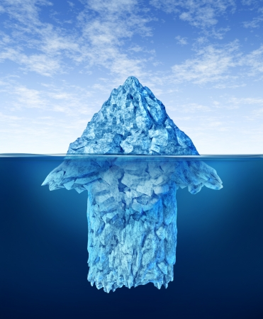 Opportunity discovery  as a business symbol represented by an iceberg with an arrow shape hidden under the water as a concept of smart investment advice for future potential growth