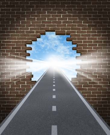 Break through to opportunity concept with a highway going through a broken brick wall to a shinning light of success on a sky background as a business icon and a symbol for a new life vision,