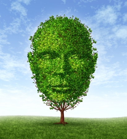 Personal development and personality growth as a medical symbol of psychology as a tree in the shape of a front facing human head as intelligence and social thinking for mental behavior health