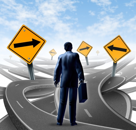 Strategic journey as a business man with a breifcase choosing the right strategic path for a new career with blank yellow traffic signs with arrows tangled roads and highways in a confused direction