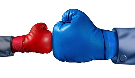 Competition and adversity and fighting the establishment as a new small business against a huge established corporation as a smaller boxing glove versus a huge one as a symbol of overcoming challenges with courage and conviction