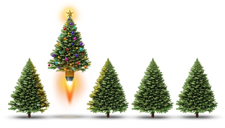 Christmas party with a group of evergreen trees and one fun decorated ornamental pine blasting off with a rocket booster