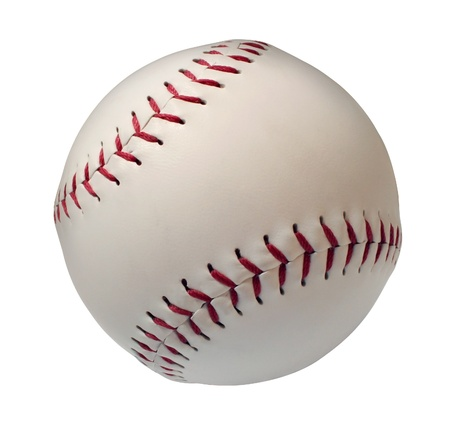 Baseball or Softball Isoltated on a white background as an American cultural and traditional national passtime sport with a sphere made of white leather and red stitching の写真素材