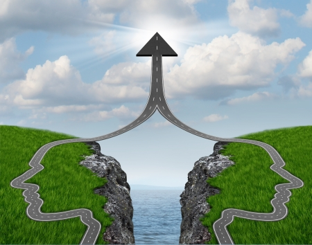 Bridge the gap and bridging the differences between two business partners over a financial cliff to merge together for team success as a strong partnership with two head shaped roads merging as an upward arrow