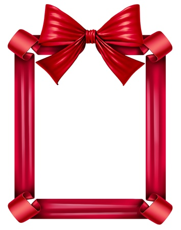 Red silk ribbon and bow as a frame for a seasonal decoration for gift giving during a celebration as Christmas birthdays and anniversaries or valentine day isolated on a white background