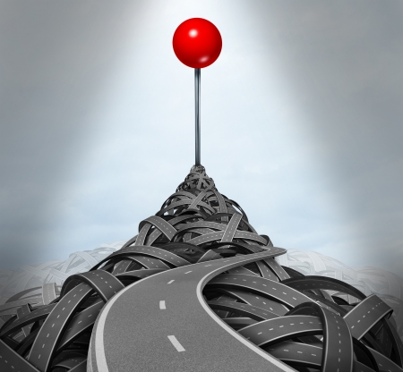 Achieving your goals and following the difficult challenging path to success with a mountain of tangled roads and highways leading to the top with a location red pushpin as a symbol of determination