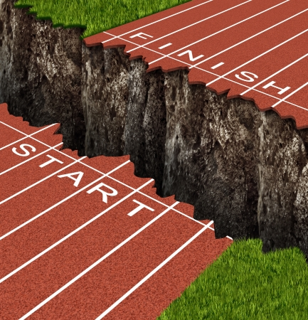 Success Risk and conquering adversity in reaching your goals as a business concept represented by a track and field race track with start and finish lines seperated by a deep and dangerous rock cliff