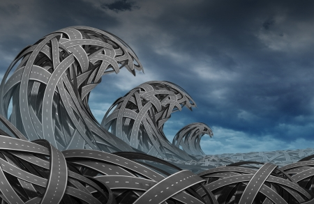 Confusion storm with a group of three diimensional roads and highways twisted together in the shape of ocean waves as a business concept of risk and  finding direction in turbulent times