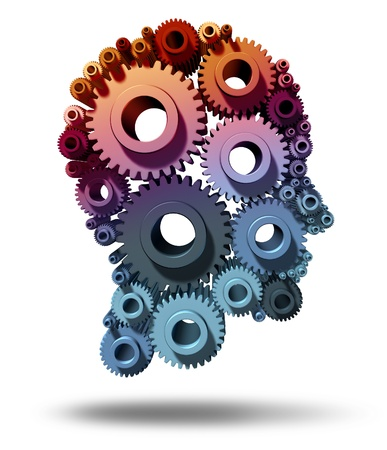 Brain function as gears and cogs in the shape of a human head as a medical symbol of mental health care and neurological functioning on a white background