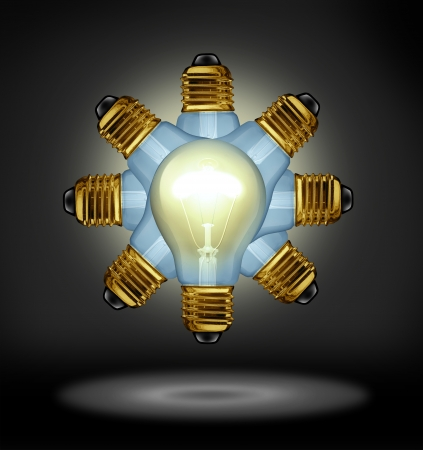 Group Ideas and creativity partnership concept with glowing light bulbs organized in a radial pattern as a symbol of the power of working together for innovation success on a black background