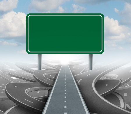 Strategy blank sign as a clear plan and solutions for business leadership with a straight path to success choosing the right strategic road with a green highway signage with copy space on a sky background