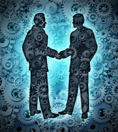 Industry agreement with two business men shaking hands on a background of a group of three dimensional gears and cogs working together in partnership for a strong cooperation