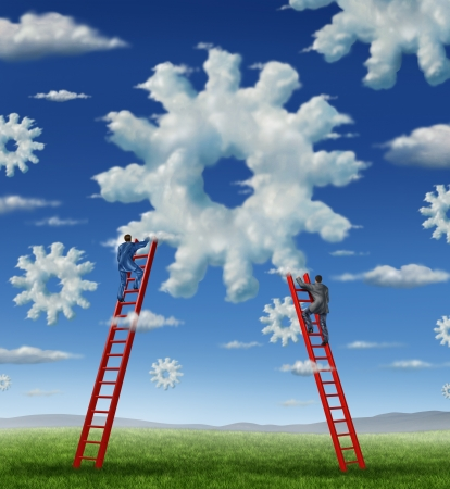 Cloud management business with a group of business people climbing red ladders to work on clouds shaped as a gear or cogs as a concept of a working team partnership with technology businessmen