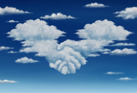 Contract agreement vision in a meeting of a group of two cumulus clouds on a blue sky shaped as hands of business people coming together to form a strong collaboration for the future