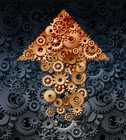 Growing industry with a group of gears and cogs coming together to form the shape of an upward arrow for the business concept of financial success