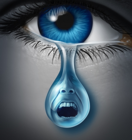 Distress and suffering with a human eye crying a single tear drop with a screaming facial expression of anguish and pain due to grief or emotional loss or business burnout
