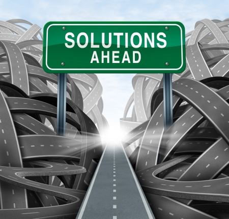 Solutions ahead and business answers concept with a green highway sign as an icon of breaking out from a confusion of tangled roads with a clear strategic path