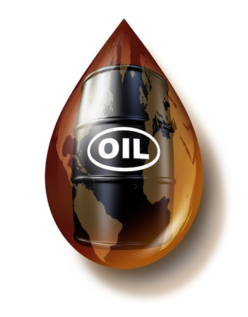 Petroleum industry and fossil fuel business as a world map on an oil drop with a drum barrel can of gasoline fuel as a commodities concept for energy resources