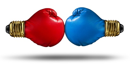 War of Ideas and debating innovative concepts with a group of two red and blue boxing gloves shaped as light bulbs fighting for creative supremecy as a business competition idea
