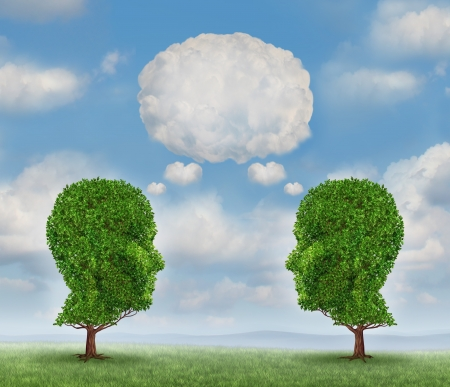 Growing network communication with a group of two trees shaped as a human head with a blank word bubble made of clouds as a business concept of team growth sending a message with cloud technology