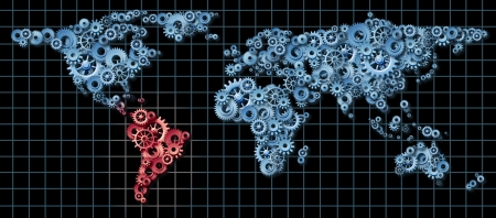 Latin America economy business concept with a world map made of gears and cogs highlighted in red as an idea of economic growth and financial success in countries as Brazil Argentina Chile