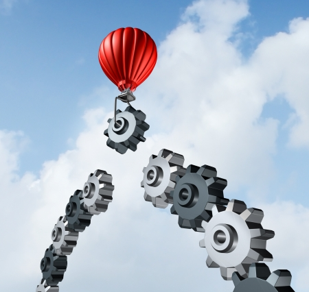 Business bridge building with a red hot air balloon lifting a gear up to the sky to construct and complete a bridged chain of cogs connected together as a result of strategy and planning for success