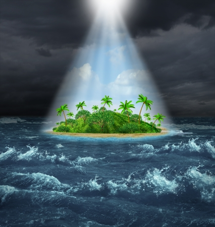 Hope and aspirations success concept with a dark storm ocean background contrasted with a glowing light from above shinning down on a beautiful tropical island as an oasis vision of the promised land