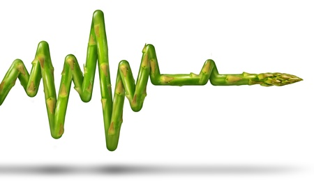 Healthy living concept with an asparagus vegetable in the shape of an ECG or EKG life line as a medical symbol of eating good food and exercising the body for human health and fitness on a white background
