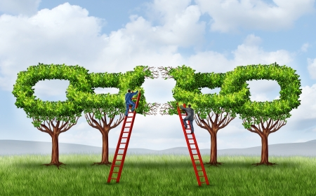 Growing a business partnership and repairing a connected network as a group of trees in the shape of a chain link that is broken is being fixed by two businessmen on ladders working together to form a strong connection