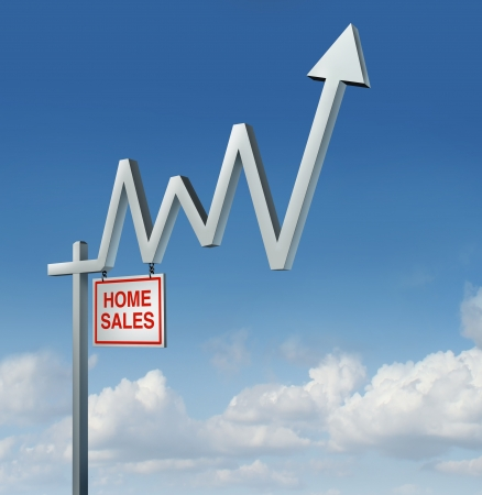 Real estate recovery and rising housing industry concept with a commercial home for sale sign in the shape of a stock market financial chart graph with an upward arrow on a sky background as a metaphor for the construction comeback