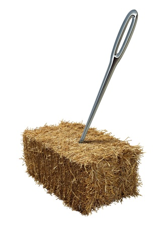 Needle in a haystack business or lifestyle concept with a giant sewing metal in a bale of hay as an icon of business guidance and easily finding what you are looking isolated on a white background