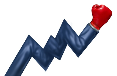 Competitive growth performance and successful leadership as a business concept of powerful financial management as an arm of a businessman with a red boxing glove shaped as a stock market graph isolated on white