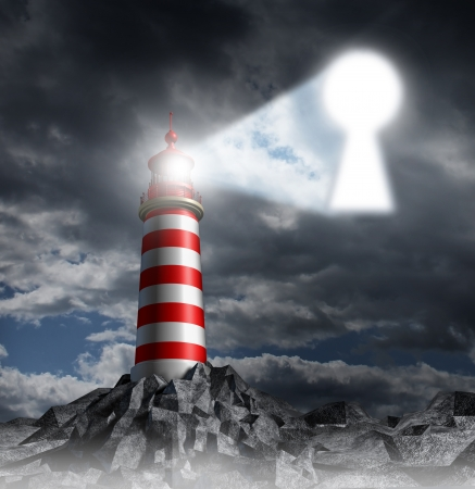 Guidance key business concept with a lighthouse beacon tower shinning a guiding light shaped as a key hole on a stormy dark background sky as a symbol of hope and finding solutions