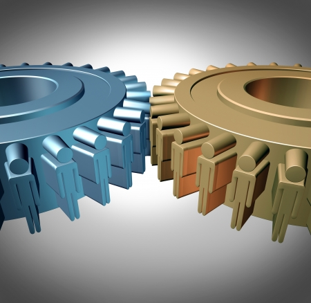 Business Teamwork concept with two merged gears or cog wheels shaped as business people icons in a meeting connected together as an organized working partnership for corporate strength and industry success