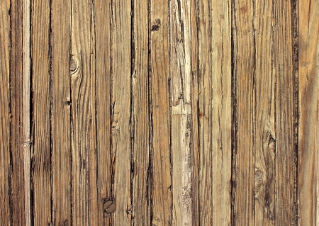Old weathered wood background and natural distressed antique planks in a vertical pattern aged by the sun and water as a natural surface vintage design element