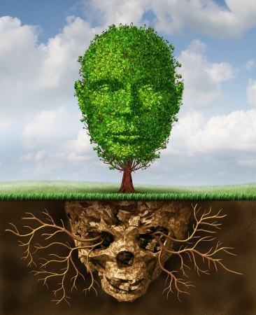 Rebirth and renewal lifestyle concept as a symbol of second chances and personal growth and revival from a crisis as a tree shaped as a human head growing out of toxic soil shaped as a death skull