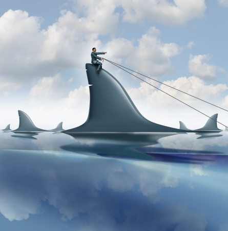 Risk control business concept with a courageous businessman riding a dangerous shark in the ocean guiding it for success controlling and managing uncertainty as a symbol of leadership