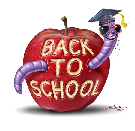 Back to school apple with a fun worm character wearing a graduation cap who has eaten the words from the fruit as an education and learning concept for kids and children who are in elementary or secondary schooling
