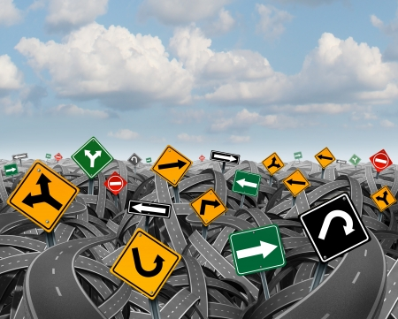 Direction uncertainty with a landscape of confused tangled roads and highways and a group of traffic signs competing for influence as a symbol of the challenges of planning a strategy for success