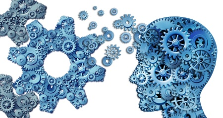 Planning a business using intelligent leadership strategies as a human head shape made with with gears and cogs building an organization symbol shaped as large cog wheels on white