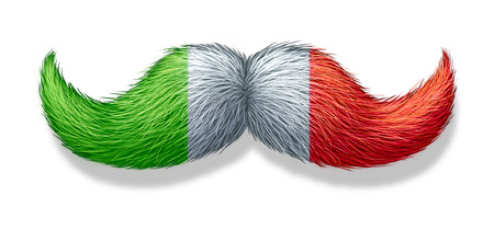 Italian mustache symbol with the flag of Italy as an icon of a European macho male culture