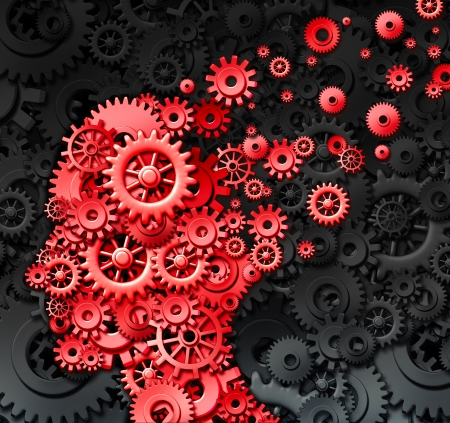Human brain injury or damage and neurological loss or losing memory and intelligence due to physical concussion trauma and head injury or alzheimer disease caused by aging with red gears and cogs in the shape of a thinking mind