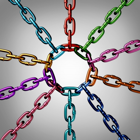 a group of three dimensional metal chains of different colors