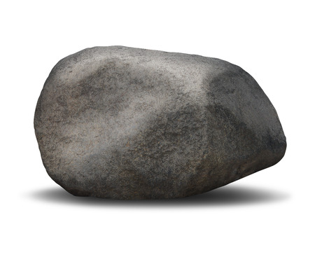Rock boulder object on a white background as a symbol of solid stability and immovable trust represented in a single rough textured heavy grey stone