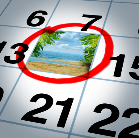 Vacation plan traveling concept and planning your trip as a calendar date reminder with a sunny beach and palm trees highlighted with a red marker as a symbol of planning a fun relaxing holiday event
