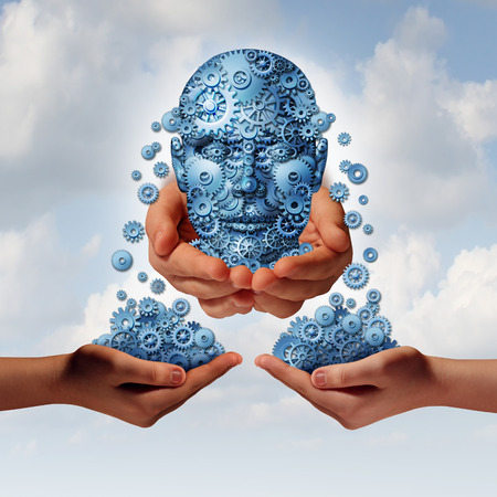 Success tools busiiness concept as a group of gearsand cogs shaped as a human head giving and sharing financial and industry information to partners with their hands open as a metaphor for training and skills education