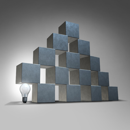 Creative support and business marketing partnership concept as a group of three dimensional cubes being supported by an illuminated lightbulb as a symbol of company backing from innovative leadership solutions