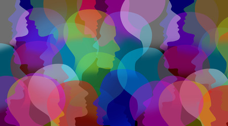 Social collaboration network and people networking communication as a connected group of people faces