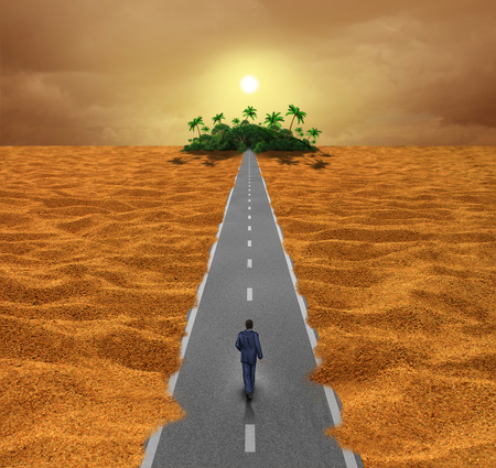 Discover opportunity  business concept for success as a person walking on a desert road to an oasis of hope or a spiritual journey for the future.