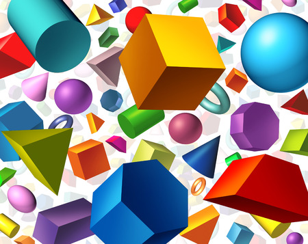 Geometric shapes background and geometry concept as basic three dimensional figures as a cube sphere cylinder floating on white as an education and math learning symbol.